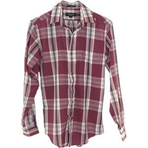 CHRISTIAN DIOR MONSIEUR Plaid Burgundy Shirt #AG3